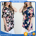 guangzhou tshirt factory drop shoulder ruffle sleeve bloom floral t shirt