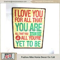 Factory direct sale custom distressed wall art metal tin sign