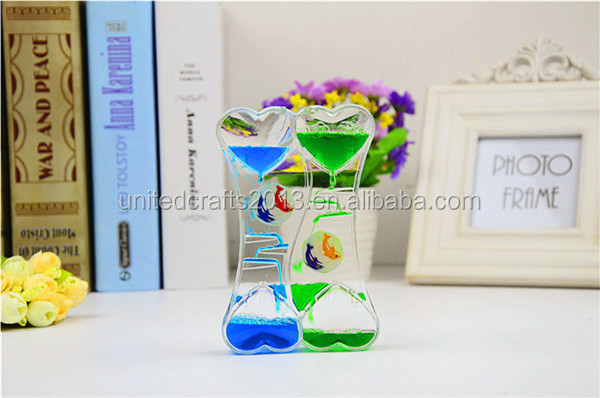 Various Acrylic Liquid Hourglass Sand Timer Upstream for Decoration