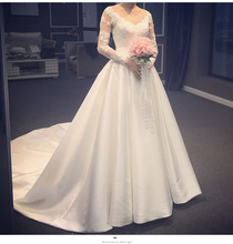 ZH1929G Elegant Satin A Line Long Illusion Sleeves Wedding Dresses V Neck Lace Appliques Court Train Bridal Gown