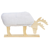 Cotton wrapped high quality desktop decoration animal shape carved wooden crafts