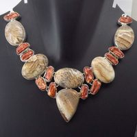 Picture Jasper, Biwa Pearl Necklace plated 925 Sterling Silver 72 Gms 18-20 Inches