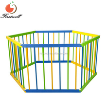 luxury Room Divider Safety Gate 6 Panel Baby Kids Toddler Deluxe Natural Wooden Portable Playpen