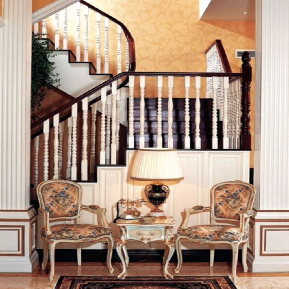 Unique Design Favorable Price Solid Wood Home Interior Prefabricated Stairs With White Carved Railing