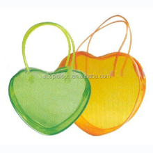 Heart shape clear pvc plastic tote cosmetic bag with zipper