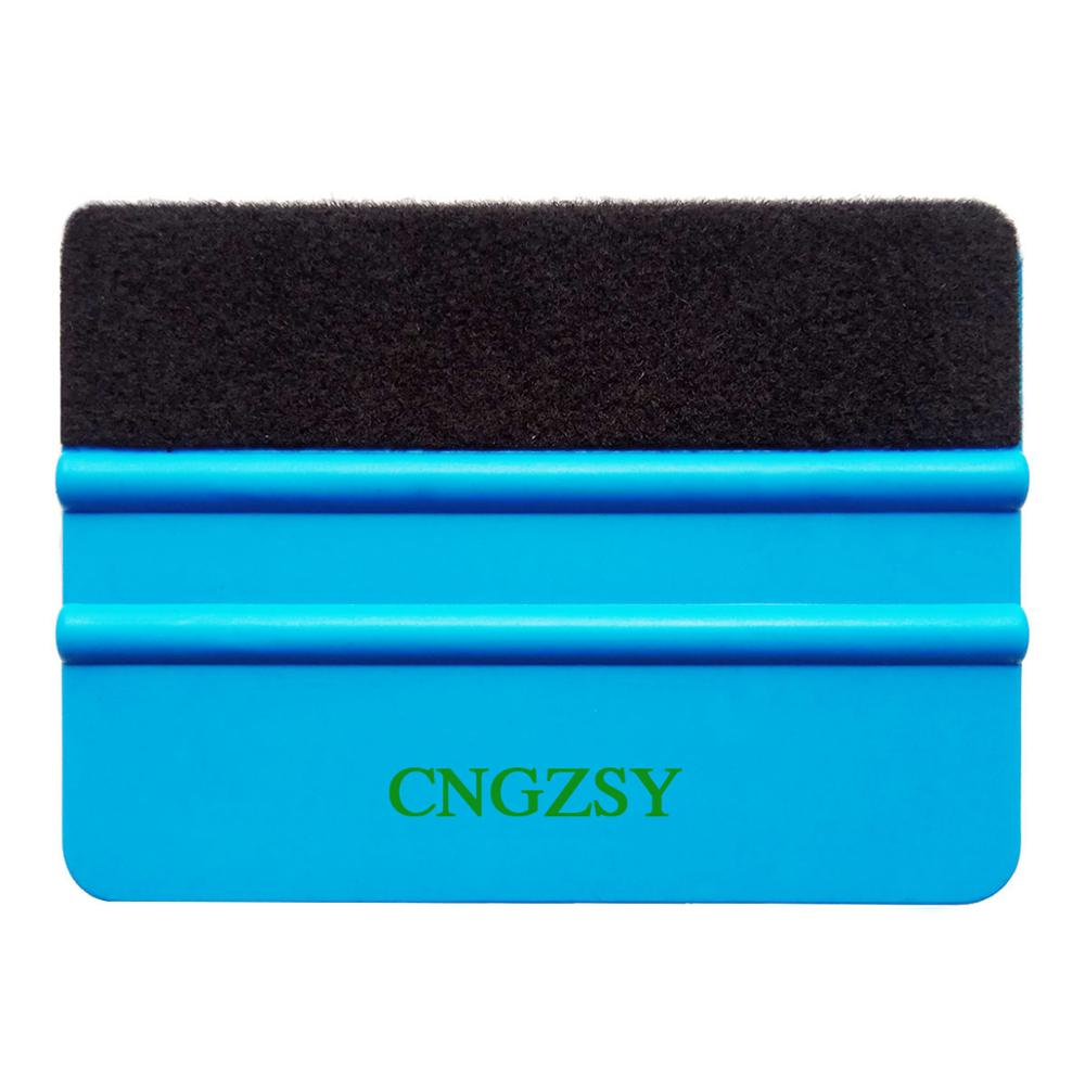 CNGZSY Felt Squeegee Auto Window Wrapping Scraper With Cloth PP Blue Car Sticker Vinyl Clean Scratch Board Water Wiper Blade <strong>A02</strong>
