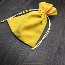 Yellow Gift Suede Pouch, Soft Suede Bag for Jewelry Packing