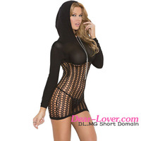 Open Women Night Wear Black Hooded Crochet Mini Sexy Lingerie Underwear