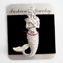 Fashion hot sale nautical navy style silver metal mermaid brooch
