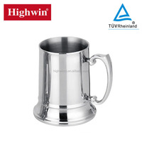 Factory wholesale stainless steel mirror polished 450ml beer mug with handle