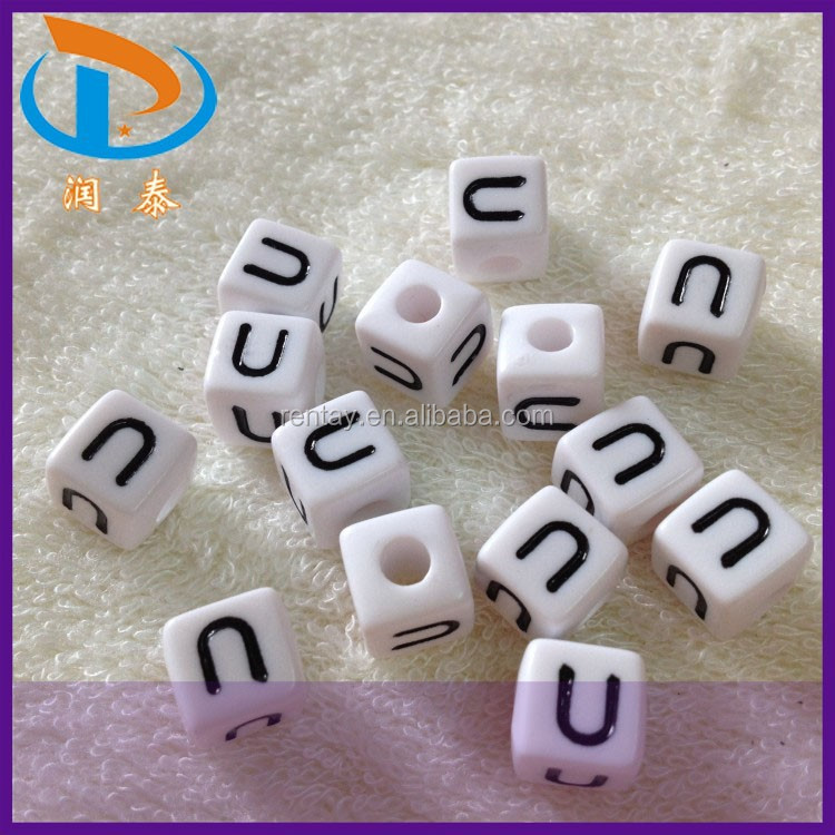 "Newest 10*10MM White and Black ""<strong>U</strong>"" Cube Acrylic Spacer Alphabet Plastic Letter Beads"