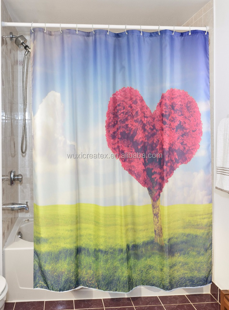 Design of trees polyester printed shower curtain