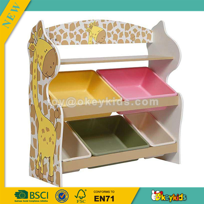 wholesale Popular design wooden toy storage shelf for kids with 5 plastic bins, 2 Tier Wooden Toys Storage Organizer W08C033