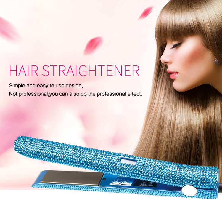wholesale crystal rhinestone hair straightener electric steam ceramic custom bling flat iron private label flat iron