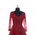 European Quality Burgundy V Neckline Long Sleeves Beaded Embroidery Middle East Evening Dresses