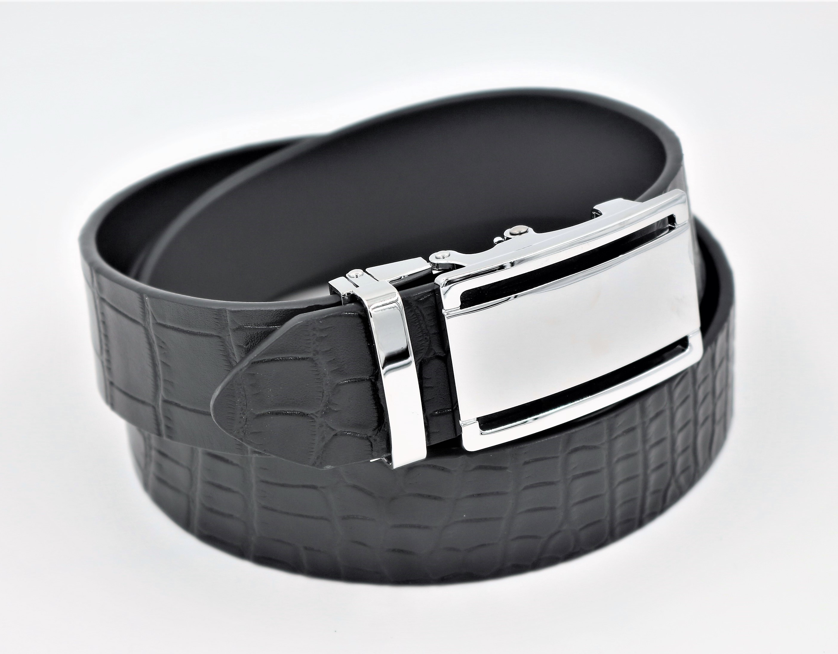 New Arrival Men's Croc Pattern Leather <strong>Belt</strong> for Men with Automatic Buckle
