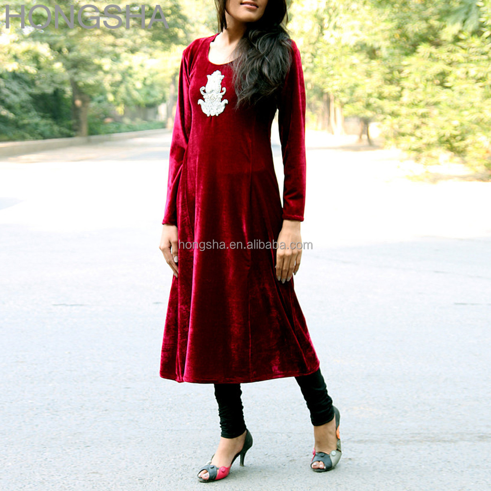 Latest Winter Kurti Designs Deep Red Black Long Velvet Kurti HSD1500