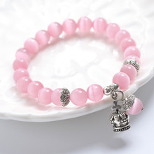 Fashion Jewelry Wholesale Pink Natural Cat Eye Stone Crown Charm Beaded Bracelet