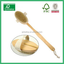 WOODEN BATH & SHOWER BRUSH - long handle, massage body, anti cellulite, back