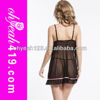 Sleeveless short transparent sexy girls nighty wear