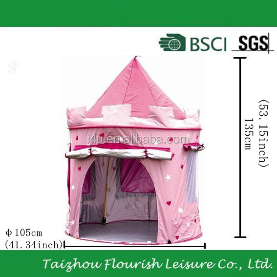 kids Deluxe pink star cartoon printing UV protection Pop-Up Castle Play Tent