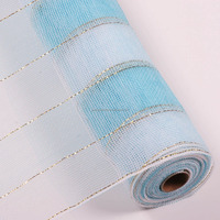 White blue striped PP mesh ribbon gift wrapping roll with gold metallic