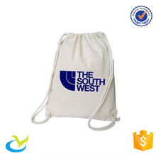 wholesale white cotton canvas drawstring rucksack backpack bag with logo for students