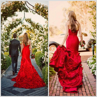 High Quality Brand Name A Line Beautiful Red Wedding Dresses With Sweetheart Low Back Appliqued Ruffled Organza Skirt (AB0081)