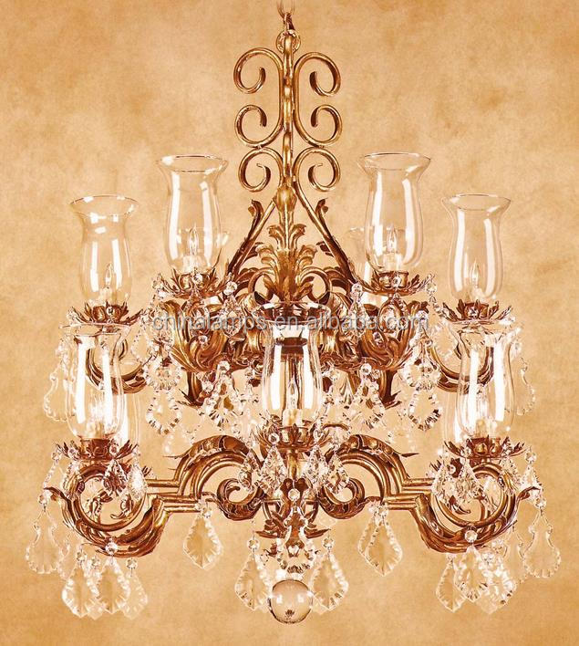 Crystal stairs chandelier light brass lamp with candle lighting for restaurant/inn furniture decoration CE UL
