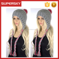 A-527 ski earflap hats with pom poms winter earflap knitted hat with braid chunky knit earflap beanie hat
