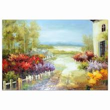 Natural beauty village scenery indoor decorative wall plaque art mounted oil painting of village life