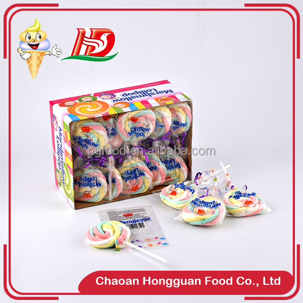 Cheap multi color lollipop shape long twisted marshmallow products