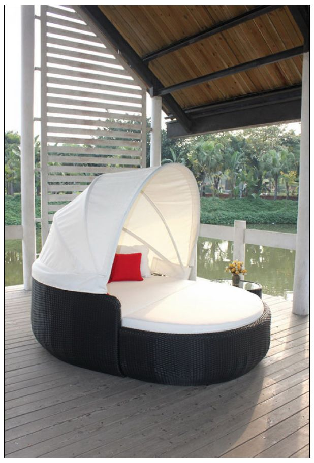 Double Round Sun Lounger With Canopy