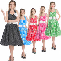 Vintage Retro 1950's rockabilly pinup swing evening dress Polka Dot With Belt Prom Rockabilly Dress