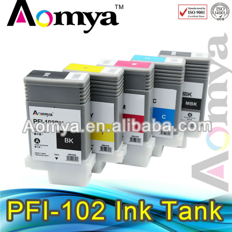 Aomya Best seller PFI 102 compatible printing ink cartridge for Canon iPF 510/iPF610/iPF710
