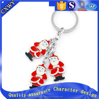 Santa Claus design 3d metal keychain custom key ring
