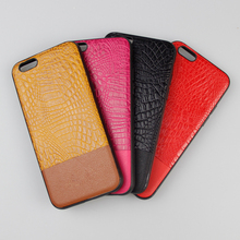 Durable Four colors selection hybrid combo stitching crocodile leather Lagging Case For Iphone 6