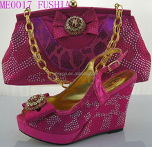 new design ladies FUSHIA color Square heel shoes and matching bags for party (ME0017 )heel hight 12cm