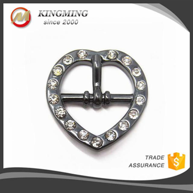 Heart Shape Rhinestone Metal Pin Buckle For Belt
