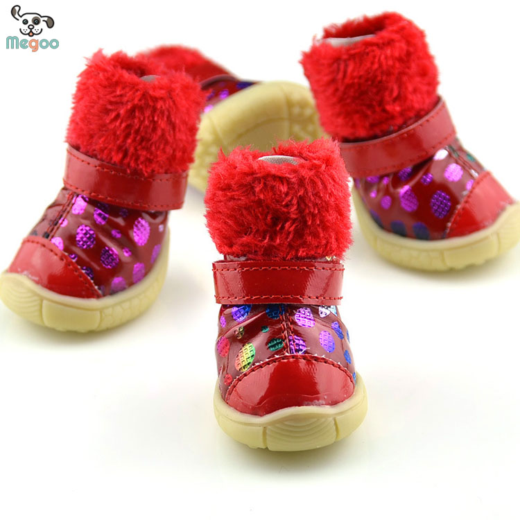 Colorful Bronzing Dog Snow Boots Waterproof PU Leather Pet Boots For Snow