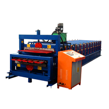 Double deck corrugated & trapezoidal profile roof sheet roll forming machine
