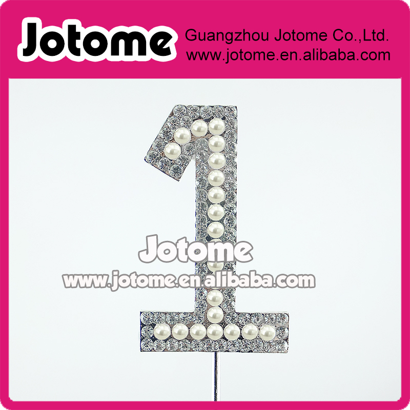 2.76inch Sparkle Silver Plated Rhinestone Pearl Number 1 <strong>wedding</strong> cake toppers for <strong>Wedding</strong>/Birthday Party Cake Accessories