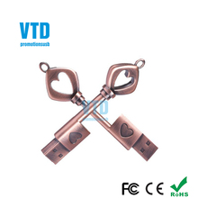 Hot Selling Metal Heart Key Shape 8GB USB 2.0 Flash Drive Manufacturer From China