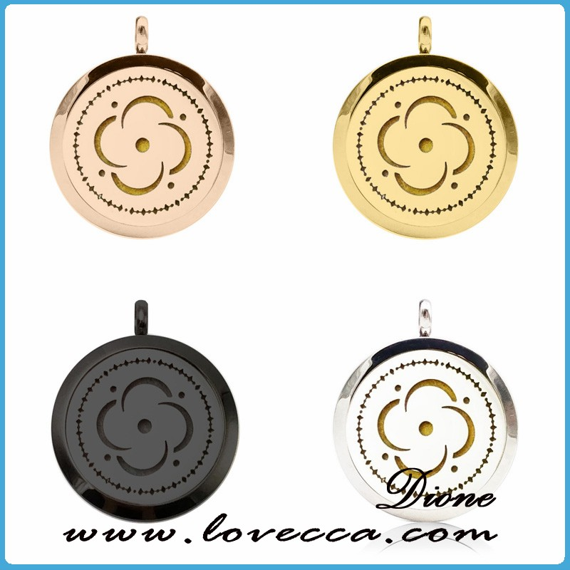 Black/rose gold/ gold/ silver Sunflower round plain pendant charms aromatherapy neckalce