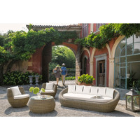 Modern exotic style oval boat shaped rattan outdoor product mexico sofa furniture