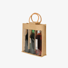 Customized 3 Bottle Wine Carry Bag Eco-friendly Tote Jute Wine Bag with Window
