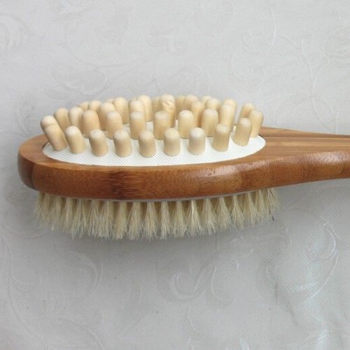 Bamboo double sided body brush