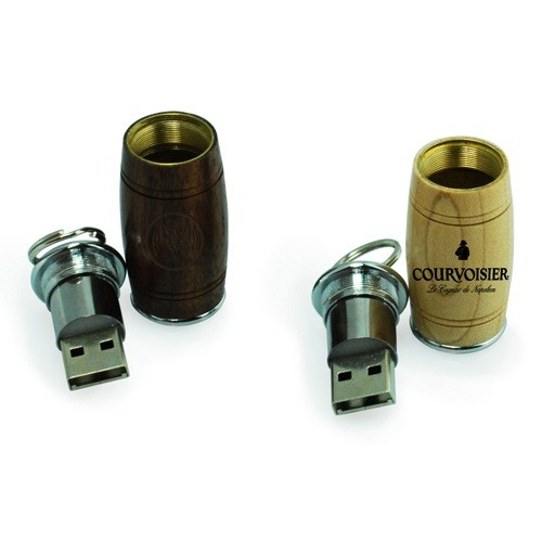 gadget beer barrel shape usb wooden pendrive with logo printing