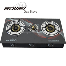 Cheap price popular 3 burner glass top gas stove for cooking