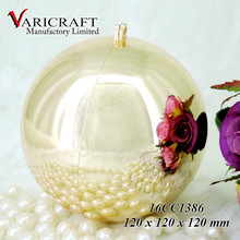 12 cm reflective Copper color plated wholesale large plastic ball Christmas ornaments